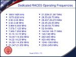 dedicated races operating frequencies
