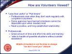 how are volunteers viewed