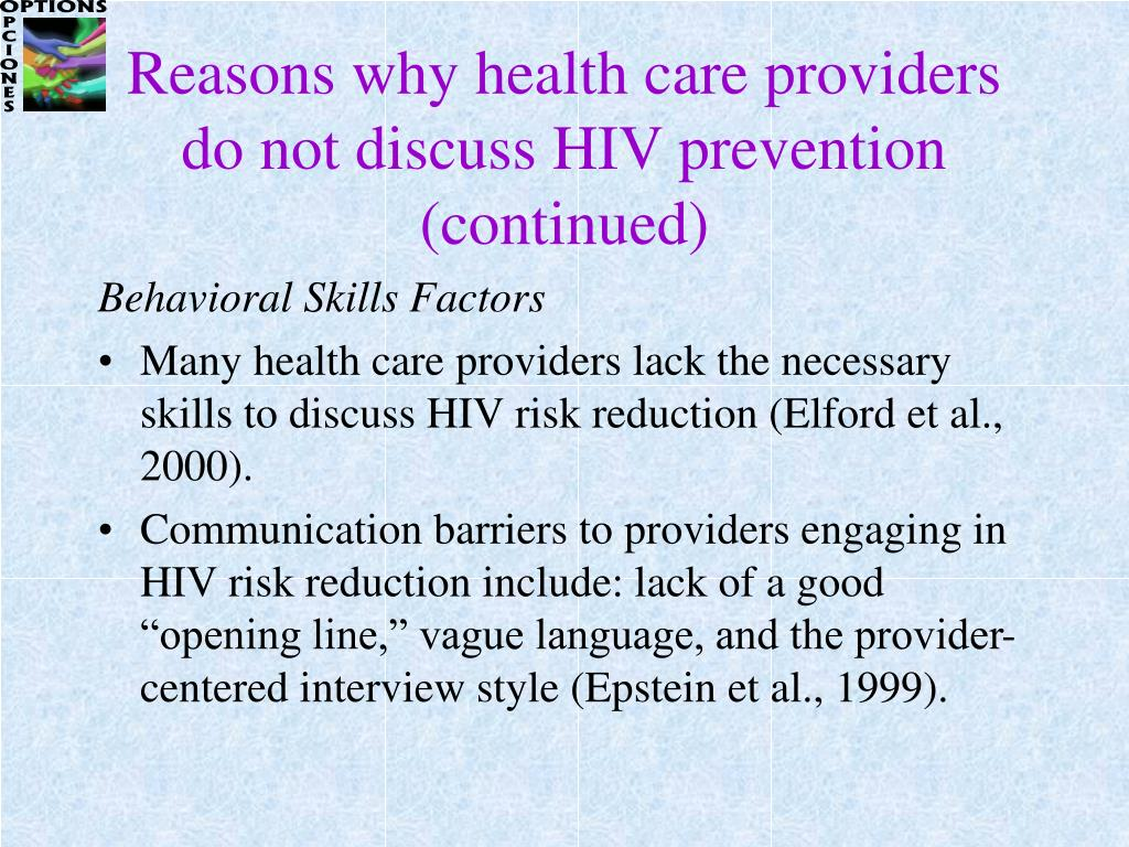 Reasons why health care providers do not discuss HIV prevention