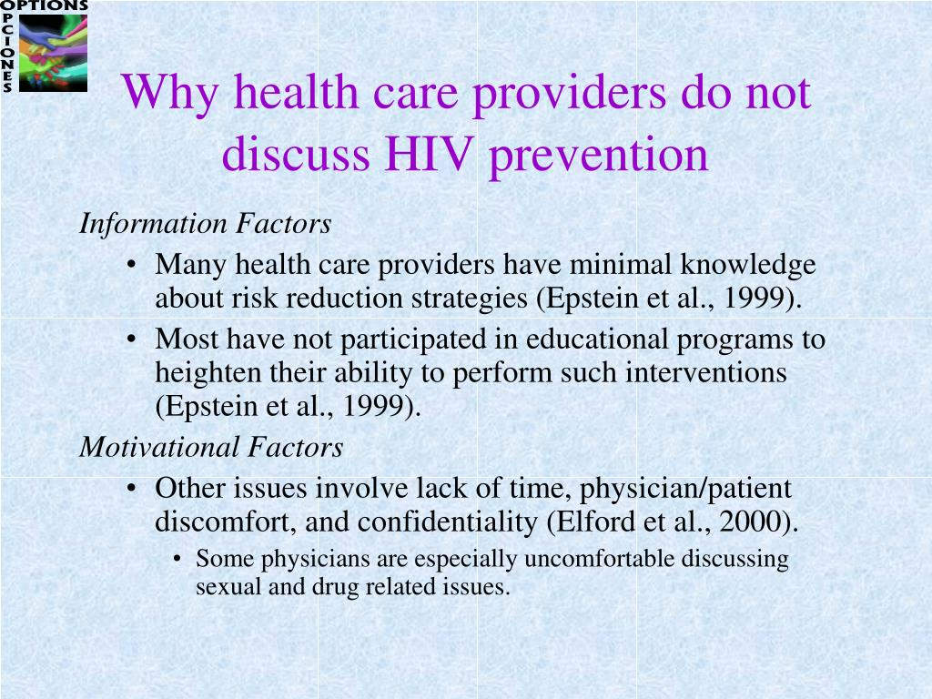 Why health care providers do not discuss HIV prevention