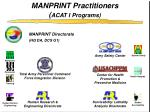 manprint practitioners acat i programs
