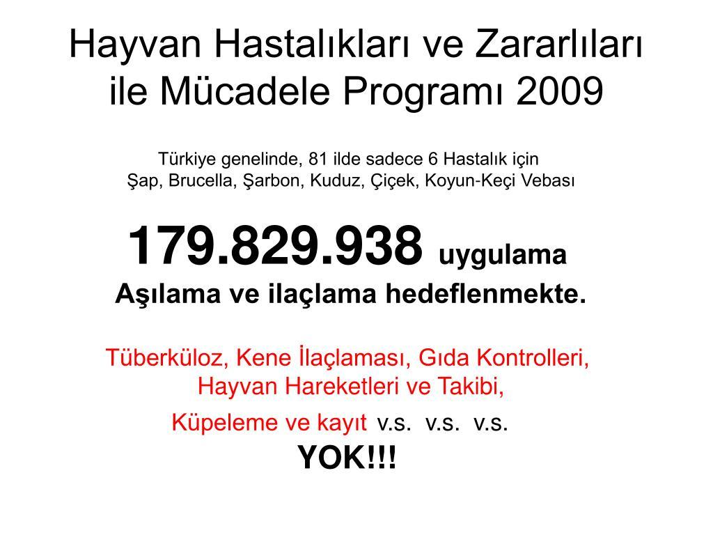 Hayvan Hastalıkları ve Zararlıları ile Mücadele Programı 2009