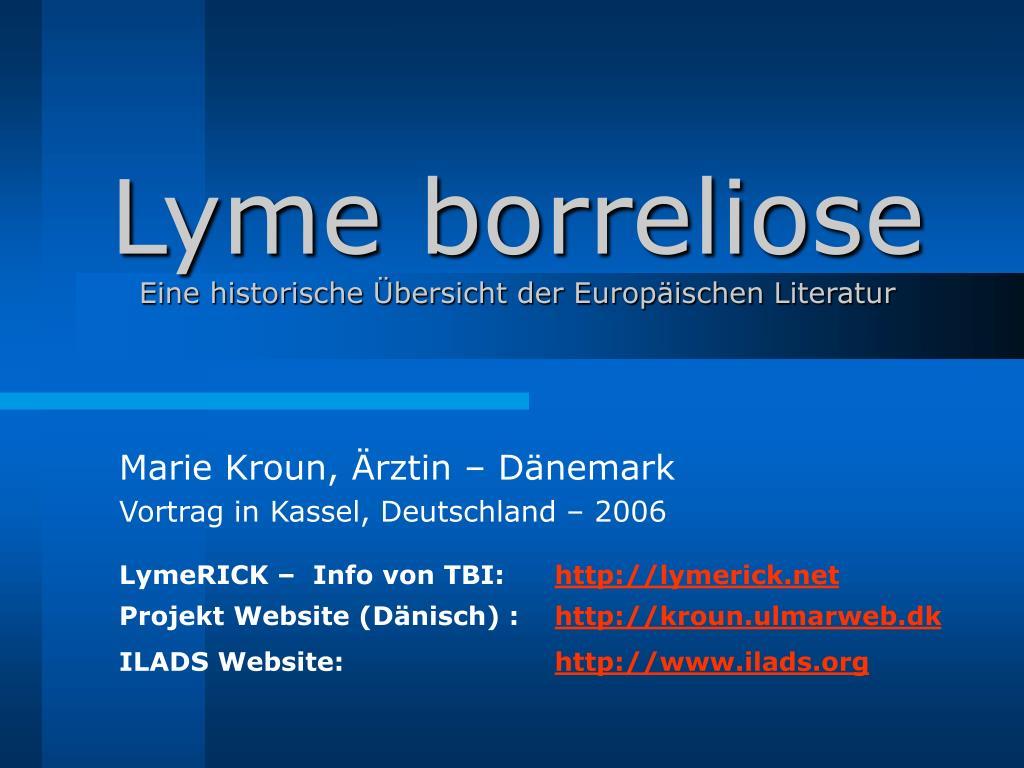 lyme borreliose eine historische bersicht der europ ischen literatur l.