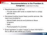 recommendations to the president congress leadership funding