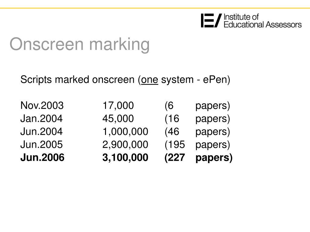 Onscreen marking