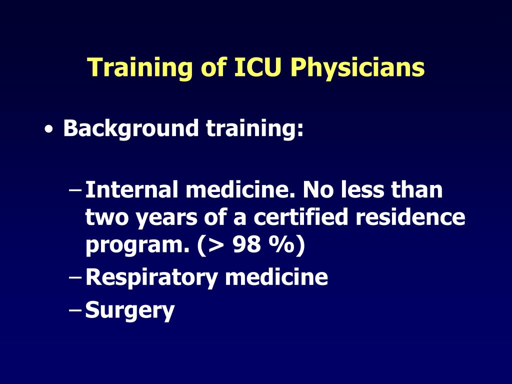 Training of ICU Physicians