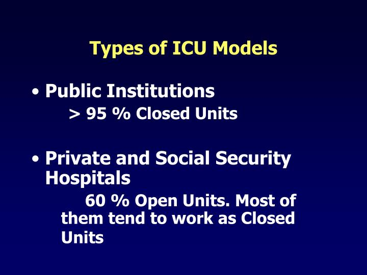 Types of icu models