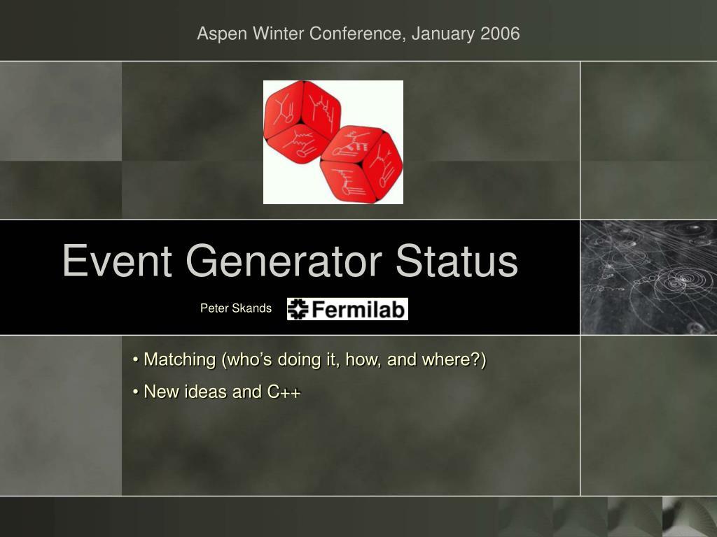 event generator status l.
