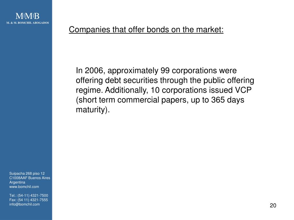Companies that offer bonds on the market: