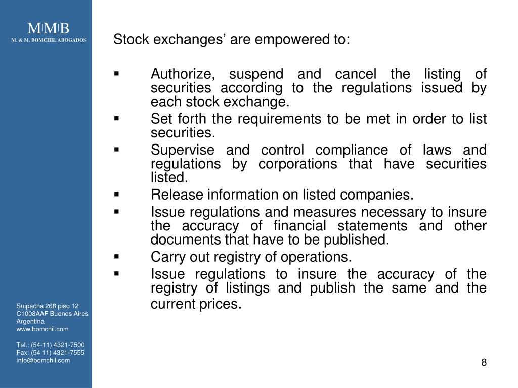 Stock exchanges' are empowered to: