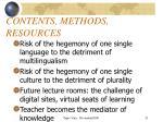 contents methods resources