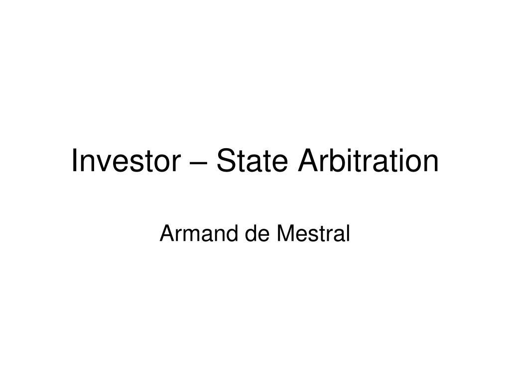 investor state arbitration l.