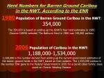 herd numbers for barren ground caribou in the nwt according to the enr