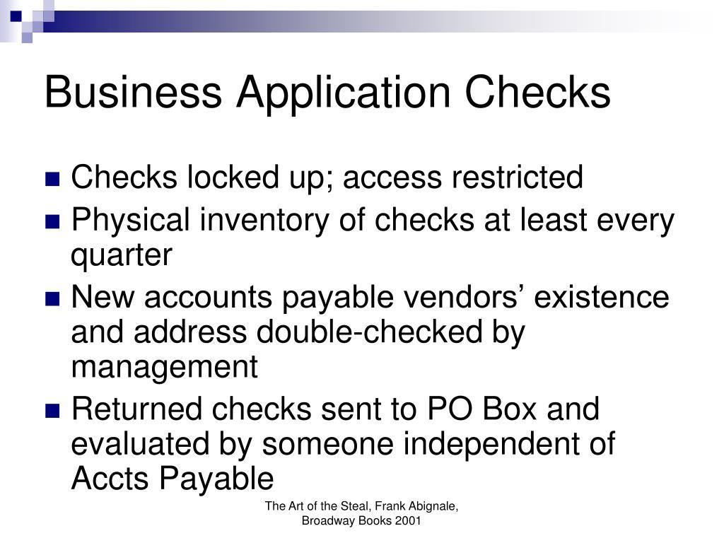 Business Application Checks