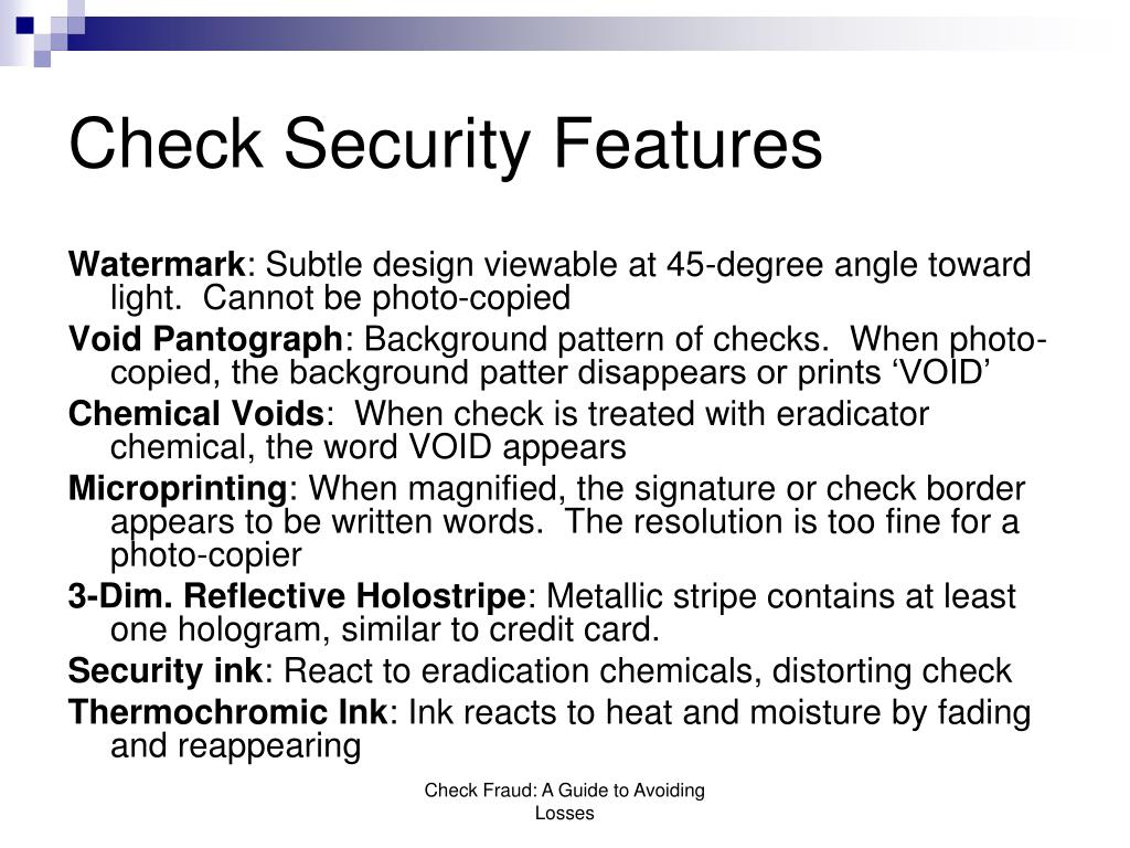 Check Security Features