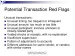 potential transaction red flags