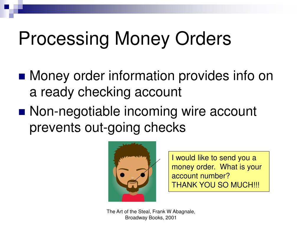 Processing Money Orders