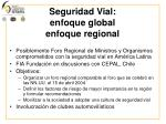 seguridad vial enfoque global enfoque regional