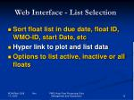 web interface list selection