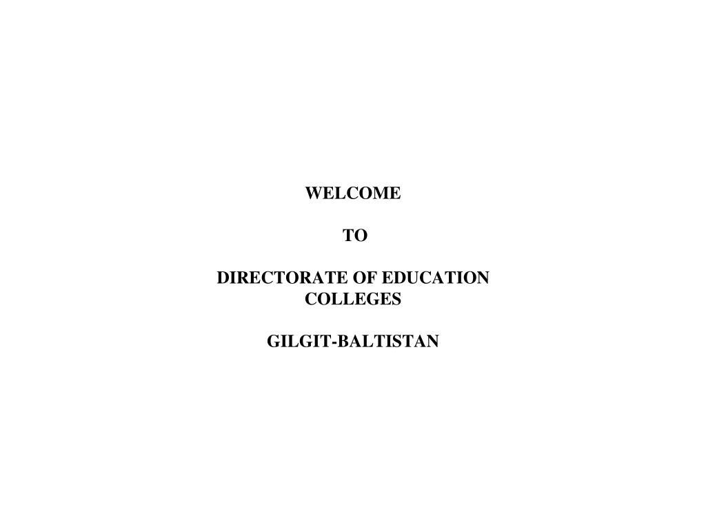 welcome to directorate of education colleges gilgit baltistan l.