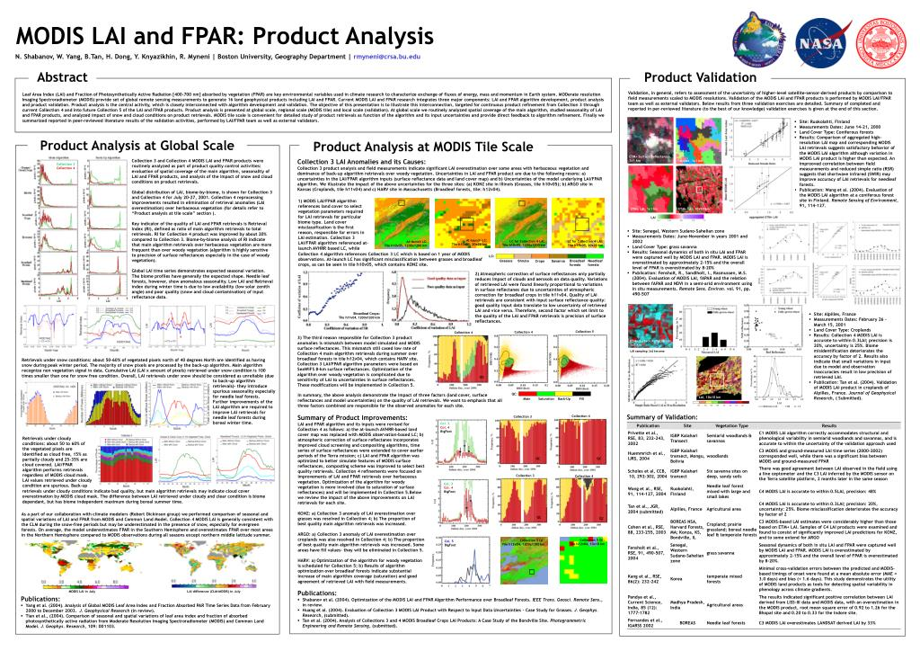 modis lai and fpar product analysis