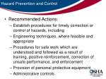 hazard prevention and control33