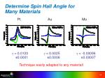 determine spin hall angle for many materials