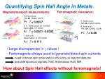 quantifying spin hall angle in metals