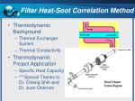 filter heat soot correlation method