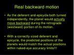 real backward motion