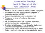 summary of findings invisible wounds of war rand corporation 2008