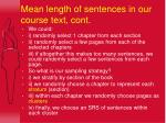 mean length of sentences in our course text cont45
