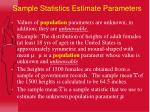 sample statistics estimate parameters