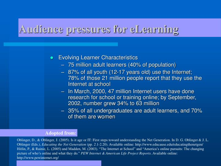 Audience pressures for eLearning