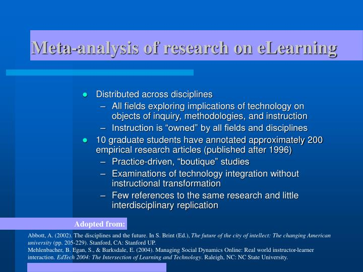 Meta-analysis of research on eLearning