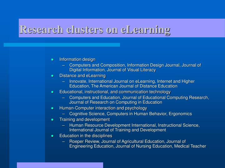 Research clusters on eLearning