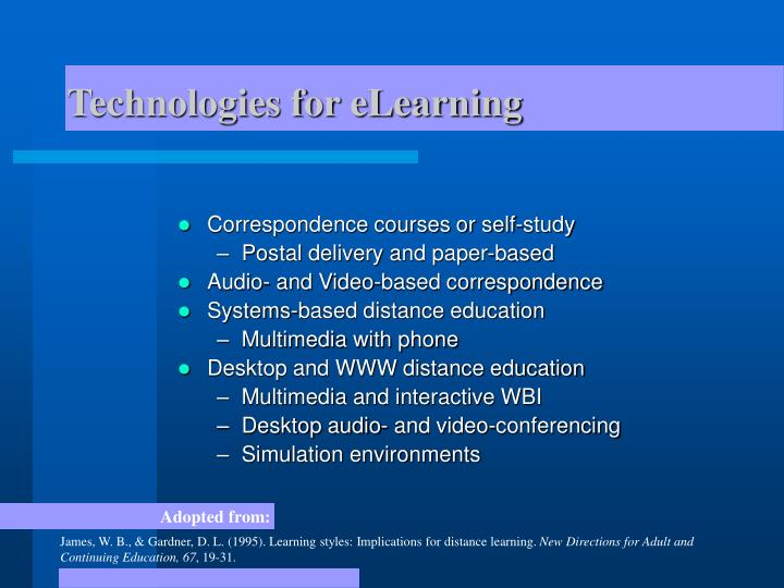 Technologies for eLearning
