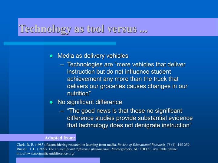 Technology as tool versus ...