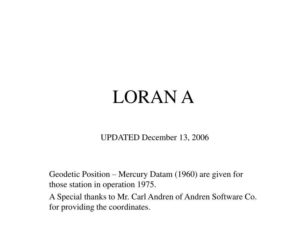 loran a l.