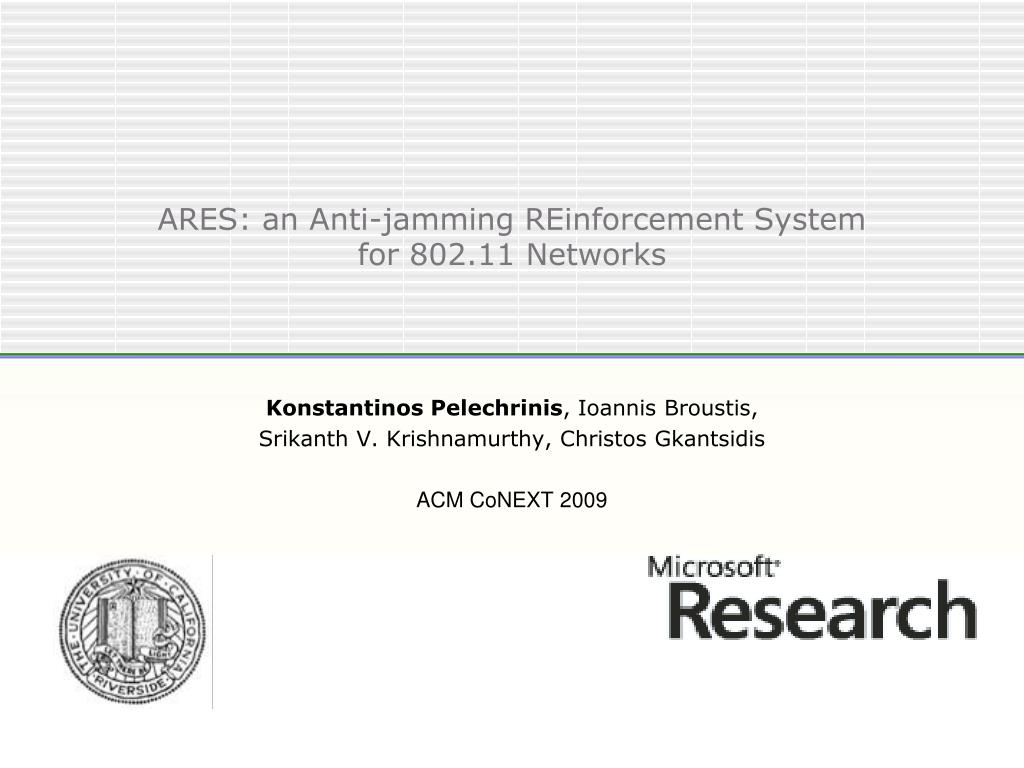 ares an anti jamming reinforcement system for 802 11 networks l.
