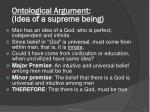 ontological argument idea of a supreme being
