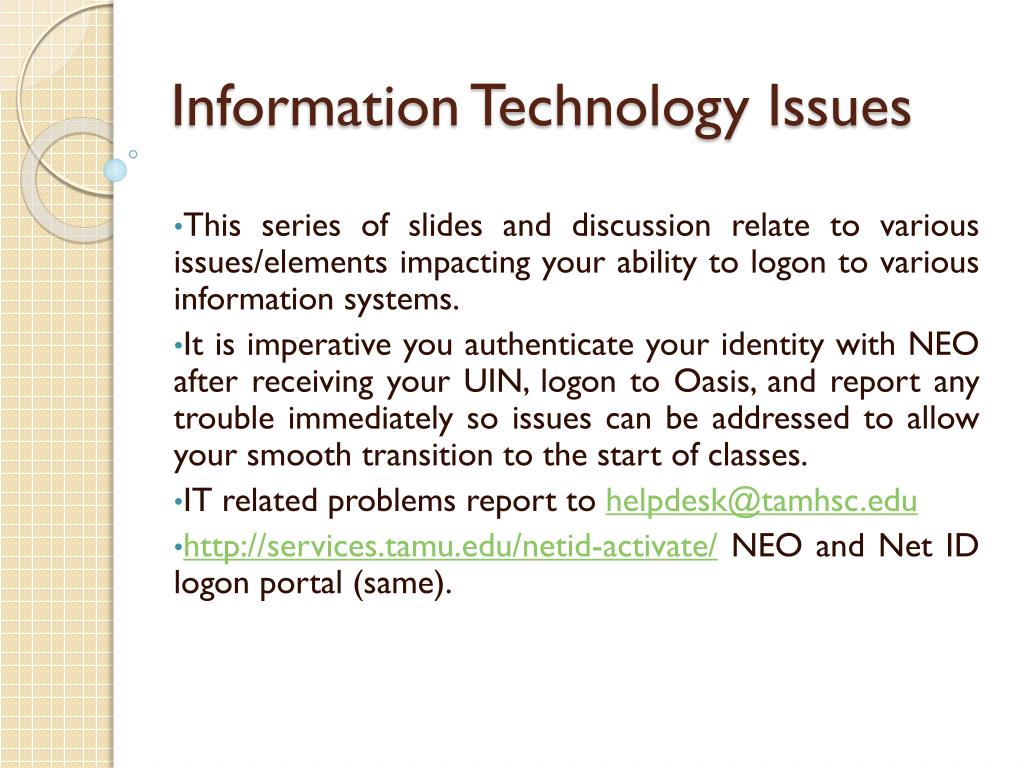 information technology issues l.
