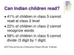 can indian children read