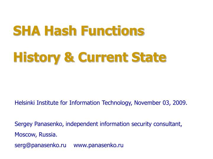 sha hash functions history current state n.