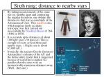 sixth rung distance to nearby stars