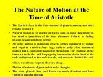 the nature of motion at the time of aristotle