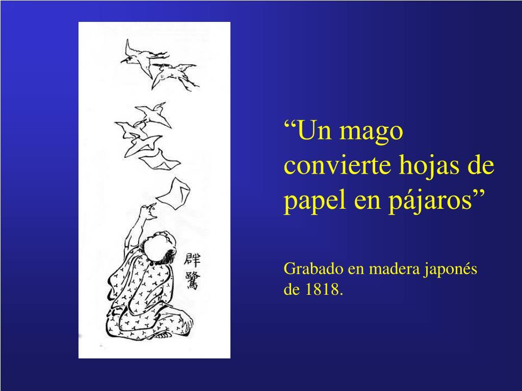"""""""Un mago convierte hojas de papel en pájaros"""""""