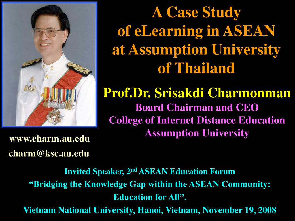 a case study of elearning in asean at assumption university of thailand l.