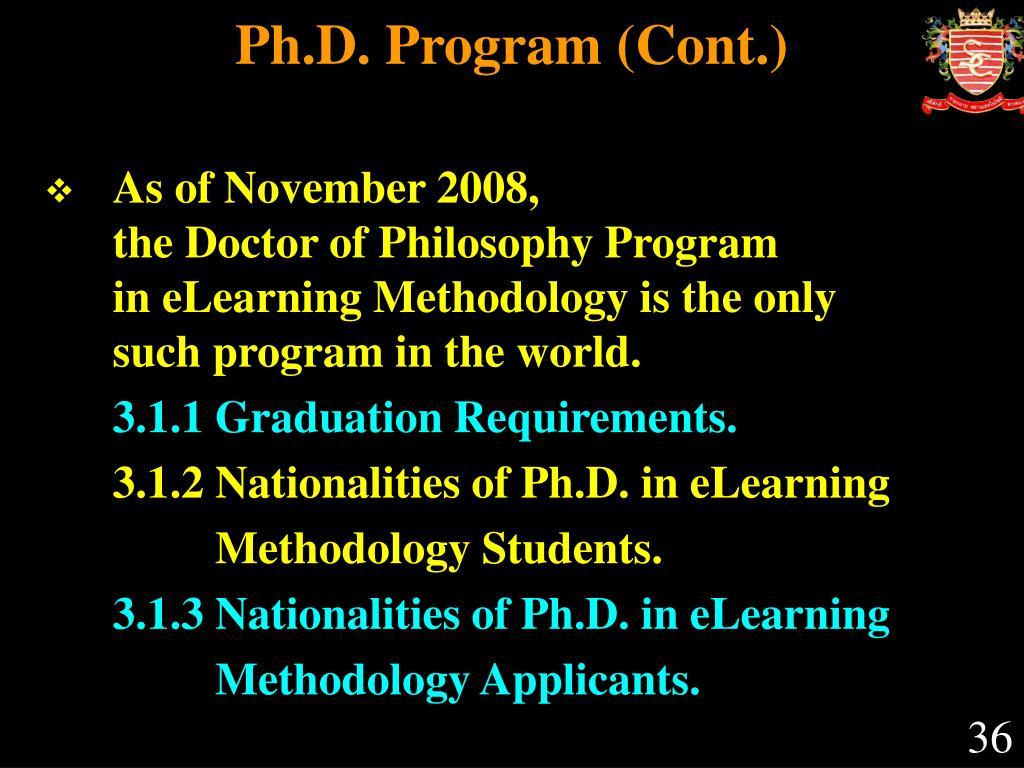 Ph.D. Program (Cont.)