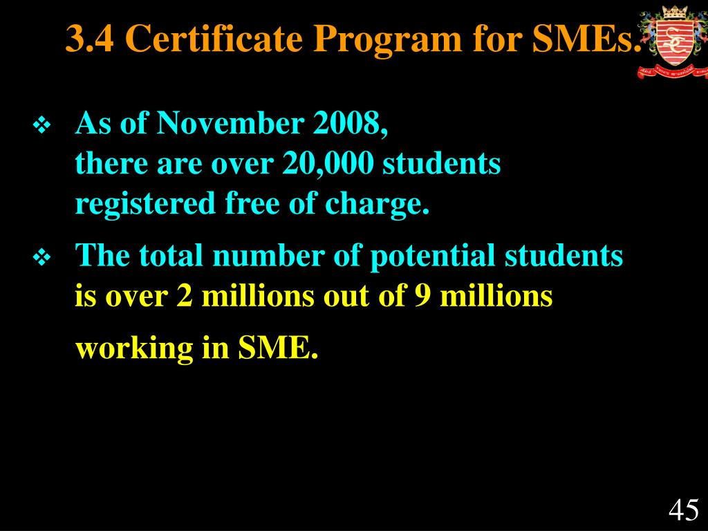 3.4 Certificate Program for SMEs.